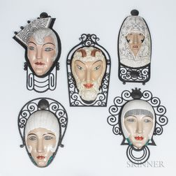 Five M. Bever Ceramic and Wrought Iron Masks