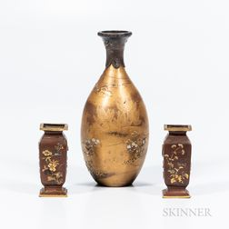 Pair of Miniature Mixed-metal-inlaid Bronze Vases and a Lacquered Maki-e   Vase
