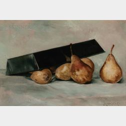 John Haberle (American, 1856-1933)      Still Life with Pears and Pan