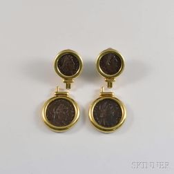 18kt Gold and Ancient Roman-style Coin Earclips