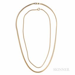 Two 14kt Gold Snake Chains