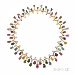 18kt Gold, Tourmaline, and Diamond Necklace