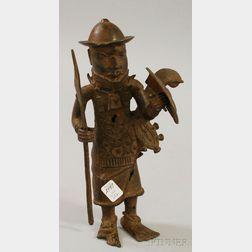 Benin-style Bronze Standing Warrior Figure