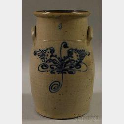 Cobalt Floral-decorated Stoneware Four-gallon Churn