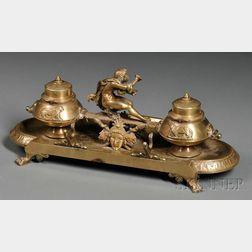 Bronze Figural Inkstand