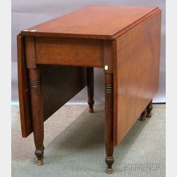 Late Federal Cherry Deep Drop-leaf Dining Table