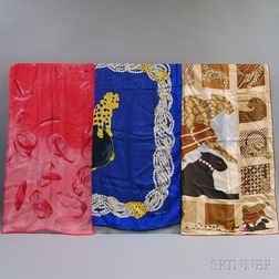 Three Cartier Silk Scarves