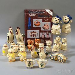 Twenty-three Shawnee Pottery Figural Salt and Pepper Shakers and a Collector's Book