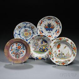 Five Polychrome-decorated Tin-glazed Plates