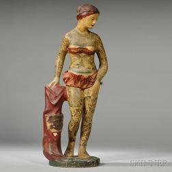 """BATTLESHIP KATE"" Composition Trade Figure of a Tattooed Woman"