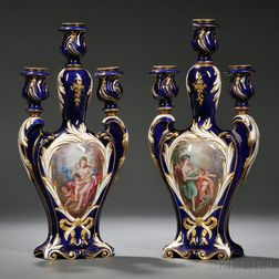 Pair of Sevres Porcelain Hand-painted Three-light Candelabra