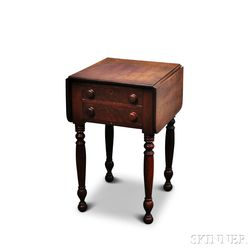 Federal Cherry Two-drawer Drop-leaf Worktable
