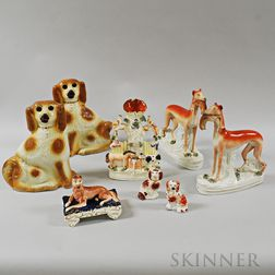 Eight Pieces of Staffordshire Pottery