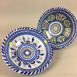 Two Modern Persian Polychrome Ceramic Bowls