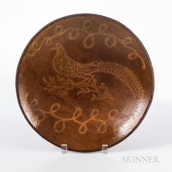 Large Slip- and Bird-decorated Redware Plate