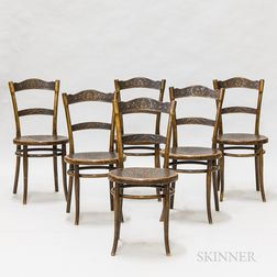 Set of Six Thonet Pressed Laminate Dining Chairs