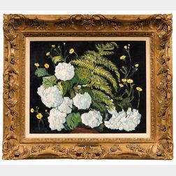 Richard Hayley Lever (American, 1876-1958)      Double White Petunia & Fern