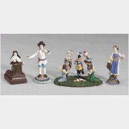 Four Verre de Nevers Miniature Glass Figures