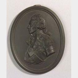 Wedgwood Black Basalt Portrait Medallion of Admiral Nelson