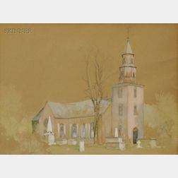 Alfred Wordsworth Thompson (American, 1840-1896)      View of the Old Bruton Church, Williamsburg, Virginia