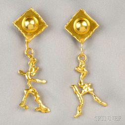 22kt Gold Earpendants, Jean Mahie