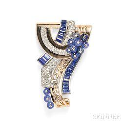 Retro 14kt Rose Gold, Sapphire, and Diamond Clip/Brooch