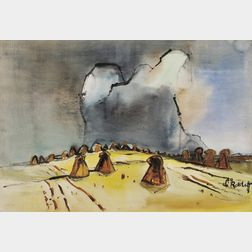 Karl Schmidt-Rottluff  (German, 1884-1976)      Hayfield with Storm Clouds