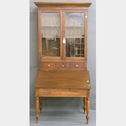 Country Late Classical Glazed Walnut and Birch Plantation Desk/Bookcase