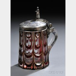 Silver-mounted and Cased Glass Tankard