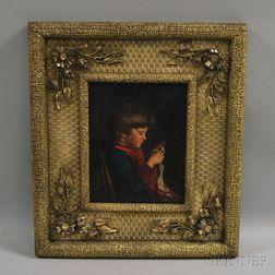 John Donaghy (American, 1838-1931)      Young Girl Crocheting.