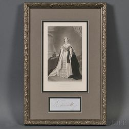 Engraving of Queen Victoria and Her Signature