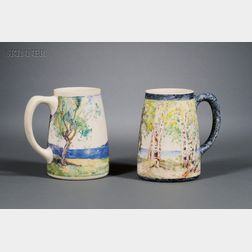 Two Salmagundi Club Painted Porcelain Mugs:      George Glenn Newell (American, 1870-1947), View through the Trees