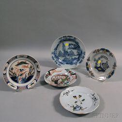 Five Continental Tin-glazed Plates