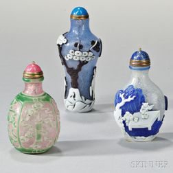 Three Double Overlay Peking Glass Snuff Bottles