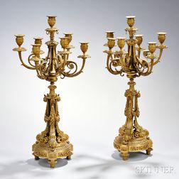 Pair of Dore Bronze Seven-light Candelabra