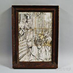Framed Continental Six-tile Religious Scene