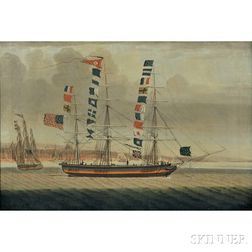 American School, Early 19th Century      Portrait of the Packet Ship Emerald   off Liverpool