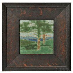 Grueby Pottery Framed Tree Tile