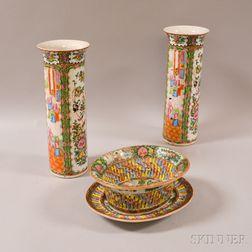 Four Rose Medallion Export Porcelain Items