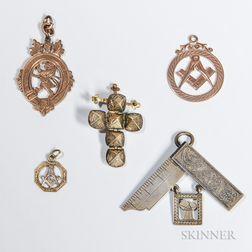 Five Masonic/Fraternal Pendants