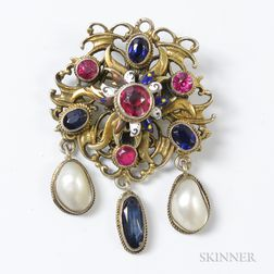 Renaissance Revival-style Gilt-silver, Enamel, and Gemstone Brooch