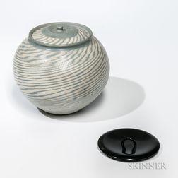 Makoto Yabe (1947-2005) Nerikomi Studio Pottery Covered Jar