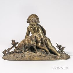 After Auguste-Joseph Peiffer (French, 1832-1886)       Bronze Model of a Child and Dog