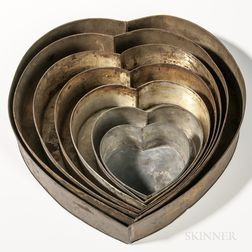 Set of Seven Heart-shaped Tin Cake Pans
