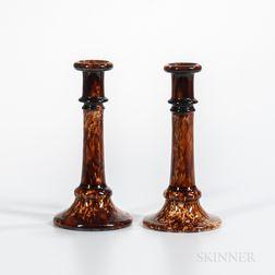 Pair of Rockingham-glazed Candlesticks