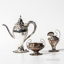 Three-piece William Kerr Sterling Silver Coffee Service