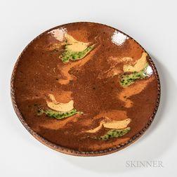 Slip-decorated Glazed Redware Plate