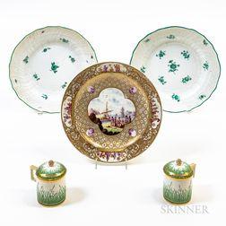 Five Pieces of Continental Ceramic Tableware