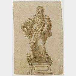 Lot of Two Drawings Including:  Manner of Jean Auguste Dominique Ingres (French, 1780-1867), , Portrait of a Lady