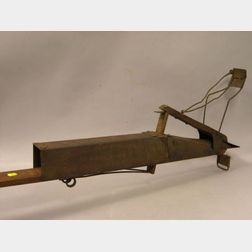 """Stencil Decorated Wood and Iron Handheld """"The Automatic Corn Planter,"""""""